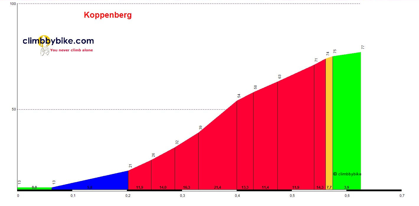 Elevation profile for Koppenberg